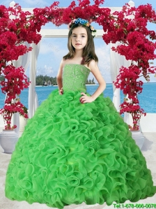 2016 Winter New Style Spring Green Organza Ruffles Little Girl Pageant Dress with Beading
