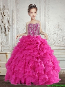 Pretty 2016 Summer Beading and Ruffles Little Girl Pageant Dress in Fuchsia