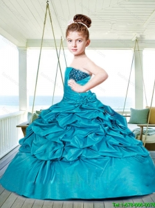 2016 Fall Fashionable Blue Little Girl Pageant Dress with Beading and Pick-ups