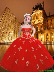 2016 Fall Fashionable Strapless Red Little Girl Pageant Dress with Appliques