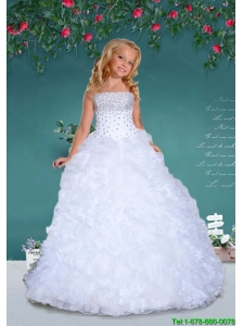 2016 Fall Fashionable Strapless White Little Girl Pageant Dresses with Beading and Ruffles