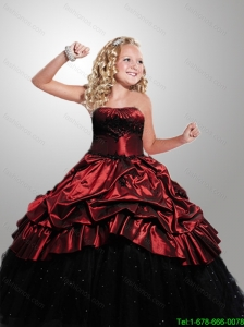 2016 Fall Luxurious Strapless Wine Red and Black Little Girl Pageant Dress with Appliques