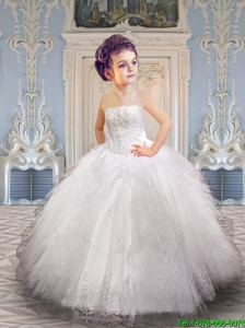 2016 Fall Luxurious White Little Girl Pageant Dress with Appliques and Ruffles