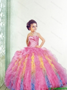 2016 Fall New Style Strapless Multi Color Little Girl Pageant Dress with Appliques and Ruffles