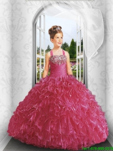 2016 Fall New Style Straps Red Little Girl Pageant Dress with Appliques and Ruffles