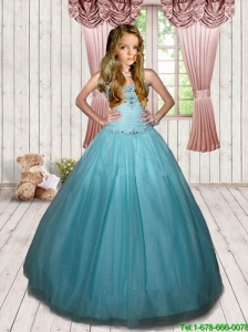 2016 Summer Cheap Beading Sweet Sixteen Little Girl Pageant Dress in Sky Blue