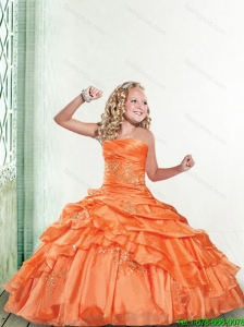 2016 Summer Cheap Orange Little Girl Pageant Dress with Appliques and Ruffles