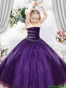 2016 Summer Discount Purple Little Girl Pageant Dress with Beading
