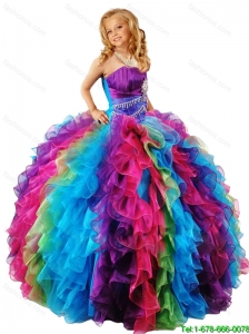 2016 Summer New Style Strapless Multi Color Little Girl Pageant Dress with Ruffles