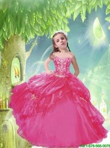 2016 Summer Popular Hot Pink Little Girl Pageant Dress with Appliques and Pick-ups