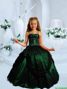 2016 Summer Popular Strapless Dark Green Little Girl Pageant Dress with Appliques