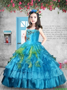 Luxurious 2016 Winter Appliques and Ruffles Baby Blue Little Girl Pageant Dress
