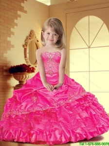 Luxurious 2016 Winter Hot Pink Little Girl Pageant Dress with Appliques