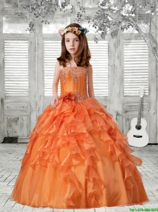 Luxurious 2016 Winter Strapless Ruffles Orange Red Little Girl Pageant Dress