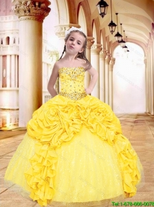 Luxurious 2016 Winter Yellow Little Girl Pageant Dress with Beading and Pick-ups