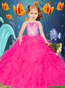 Pretty 2016 Summer Beading and Ruffles Hot Pink Little Girl Pageant Dress