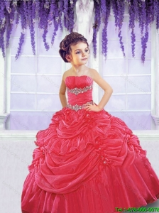 Pretty 2016 Summer Red Little Girl Pageant Dress with Beading and Pick-ups