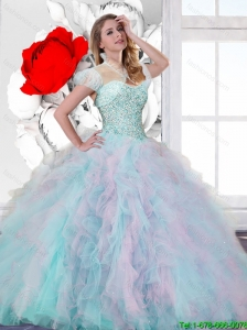 2016 Elegant Multi Color Sweet 15 Dresses with Beading and Ruffles