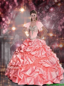 2015 Romantic Sweetheart Watermelon Quinceanera Dresses with Beading and Pick Ups