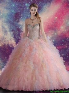 2016 Feminine Pink Sweetheart Quinceanera Dresses with Beaded and Ruffles