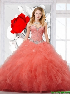 2016 New Style Appliques and Ruffles Quinceanera Dresses in Orange Red