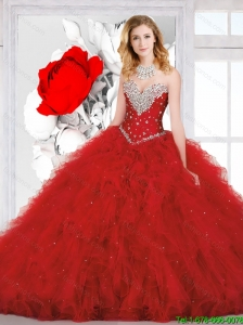 2016 Perfect Sweetheart Red Quinceanera Dress with Beading and Ruffles