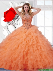 2016 Pretty Beaded Sweetheart Ball Gown Quinceanera Dresses in Orange