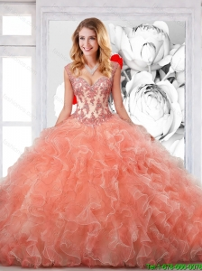 2016 Pretty Orange Straps Sweet 16 Dresses with Appliques and Ruffles