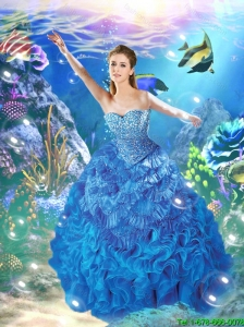 Beautiful Sweetheart Beading Quinceanera Gowns in Blue