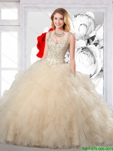 Champagne 2016 New Arrival Quinceanera Dresses with Beading and Ruffles