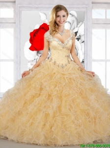 Elegant Straps Beaded and Ruffles Quinceanera Dress in Champagne