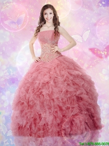 Luxurious Sweetheart Beaded and Ruffles Quinceanera Gowns in Tulle