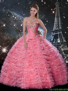 Modest Rose Pink Sweetheart Quinceanera Dresses with Beading and Ruffles