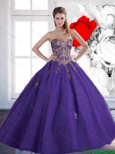 New Arrival 2016 Ball Gown Tulle Purple Sweet 16 Dresses with Beading