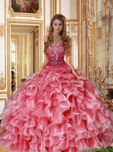 New Style 2015 Sweetheart Beaded and Ruffles Quinceanera Dresses in Coral Red