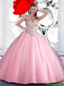 Perfect 2016 Sweetheart Ball Gown Pink Sweet 16 Dresses with Beading