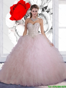 Perfect Baby Pink Beading Quinceanera Dresses with for 2016