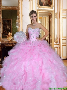 Pretty Sweetheart Beaded Quinceanera Dresses with Ruffles for 2015