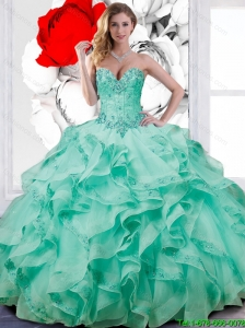 Suitable Turquoise Blue Ball Gown Quinceanera Dresses with Appliques