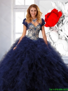 Trendy Navy Blue Quinceanera Dresses with Appliques and Ruffle for 2016