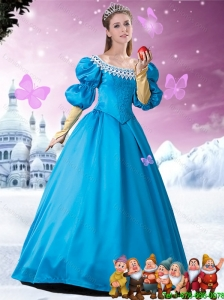 2016 Pretty A Line Quinceanera Dresses with Appliques and Bowknot in Blue