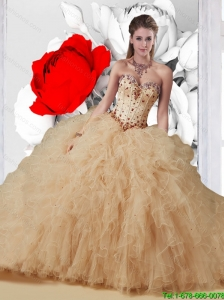 2016 Elegant Quinceanera Dresses with Beading and Ruffles in Champagne