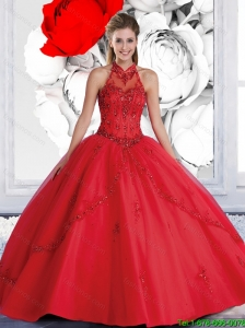2016 Pretty Ball Gown Halter Top Red Quinceanera Dresses with Beading