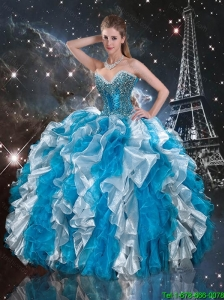 Delicate White and Blue Quinceanera Gowns with Beading and Ruffles