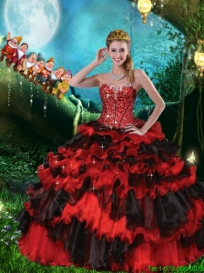 Elegant Beaded and Ruffled Layers Sweetheart Quinceanera Dresses in Black and Red
