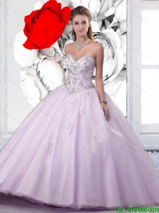 New Style Sweetheart Beaded Lavender 2016 Quinceanera Dress with Appliques