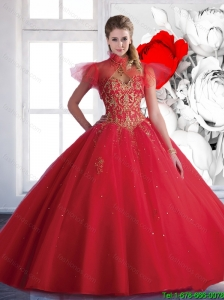 Pretty Ball Gown Sweetheart Beaded Quinceanera Dresses in Red for 2016