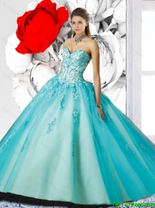 Romantic Sweetheart Brush Train Quinceanera Dresses with Appliques for 2016