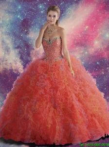 Simple Beaded and Ruffles Sweetheart Quinceanera Dresses in Red