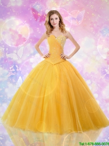 Sophisticated Sweetheart Quinceanera Dresses with Beading in Tulle